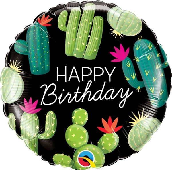 Folienballon Happy Birthday Kaktusse 45cm