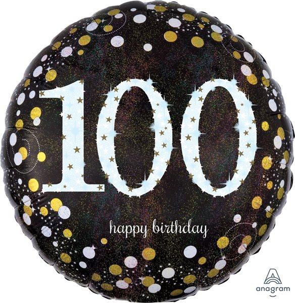 "Folienballon Sparkling Birthday ""100"" 43cm"