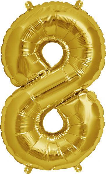 Luftballon Zahl 8 Gold 40cm