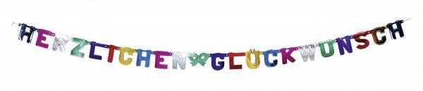 Buchstaben-Girlande Herzlichen Glückwunsch 230 cm