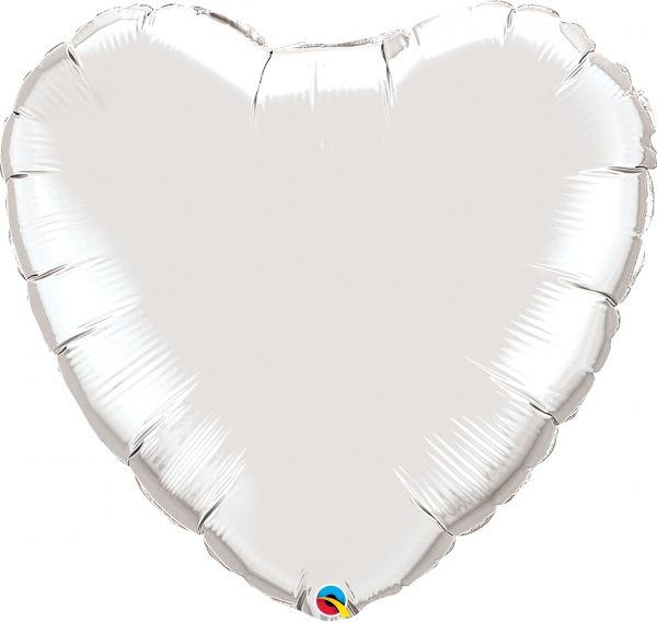 Folienballon Herz Silber 90 cm