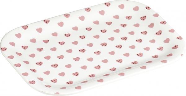 Sweetheart - Kleines Tablett mit rosa Herzchen