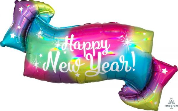 Folienballon Happy New Year holografisch 99cm