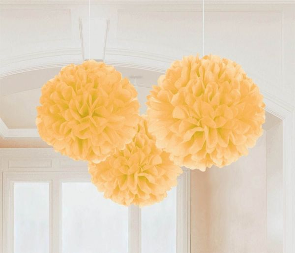 Gold - 3 Fluffy Pom Poms
