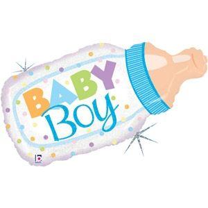 Folienballon Holographic Babyflasche Junge 83 cm
