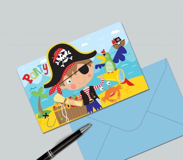 Kleiner Pirat - 8 Einladungskarten und Umschläge