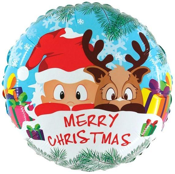 Ballon Weihnachtsmann & Rentier 50cm