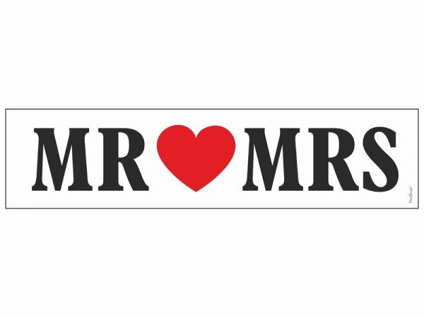 """Nummernschild Aufkleber zur Hochzeit """"Mr <3 Mrs"""""""