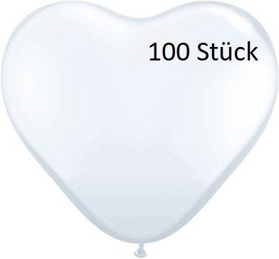 Herzballon Weiß 35cm 100 Stück