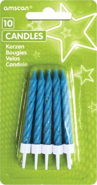 10 blaue Glitzerkerzen Haltern
