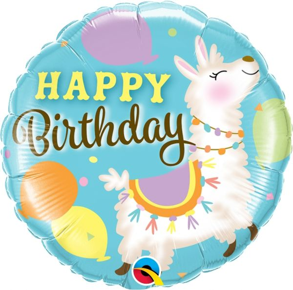 Folienballon Geburtstags-Lama 45cm