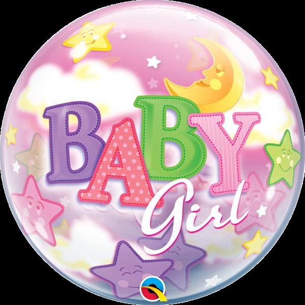 Bubble Ballon Baby Girl Mond & Sterne 56cm