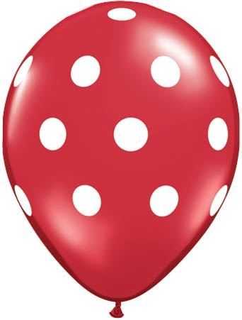 Qualatex Latexballon Big Polka Dots Red Ø 30cm