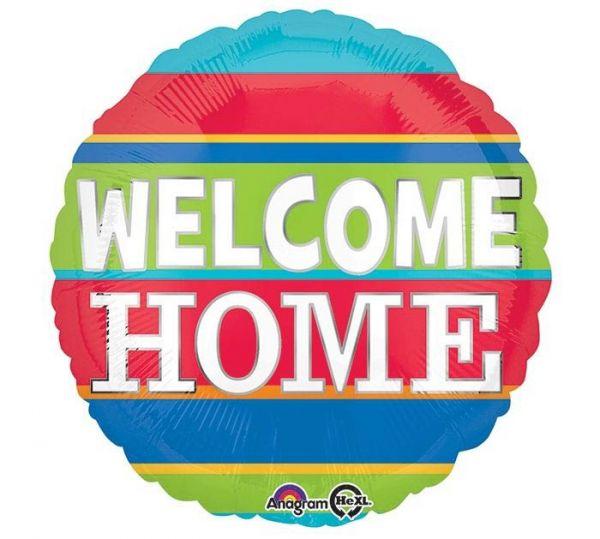 Folienballon Welcome Home bunt gestreift 43cm