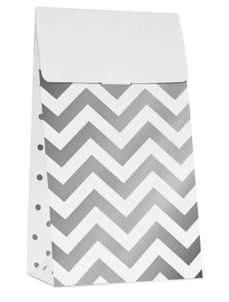 Weiß Silber - 10 Party Tüten