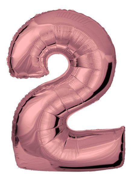 Folienballon Zahl 2 Roségold 100 cm