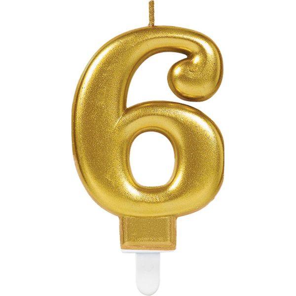 "Sparkling Celebrations Gold - Zahlenkerze ""6"""