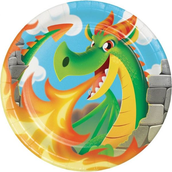 Drachen Party - 8 Pappteller