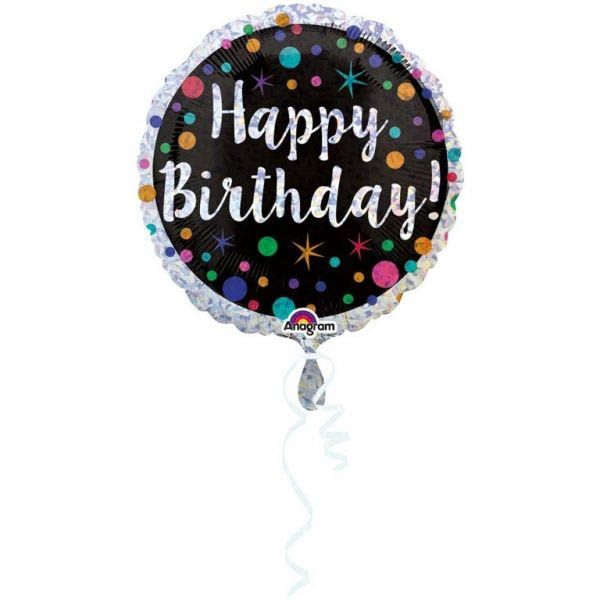 Folienballon Happy Birthday mit Punkten Holographic 45cm