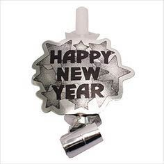 6 Happy New Year Blowouts Silber