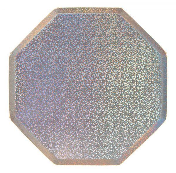 Meri Meri - 8 Silber-Holo Pappteller