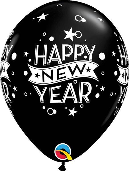 Qualatex Ballon New Year Konfetti Schwarz 30cm