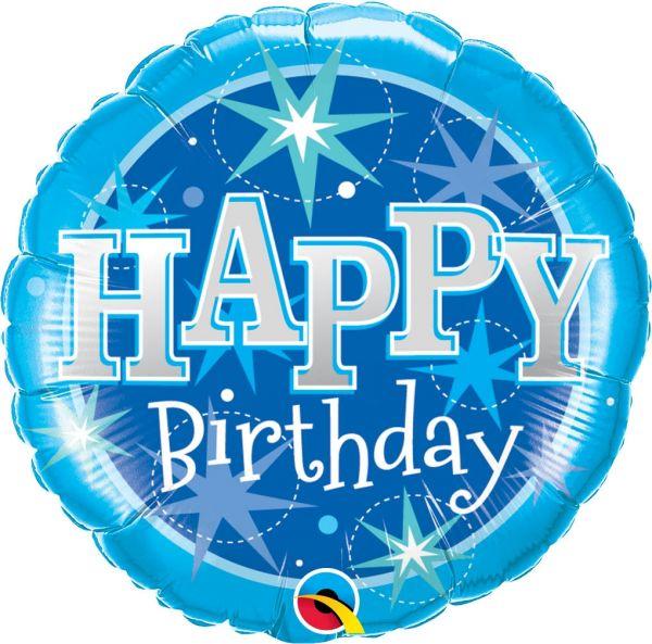 Folienballon Happy Birthday Sterne Blau 46cm