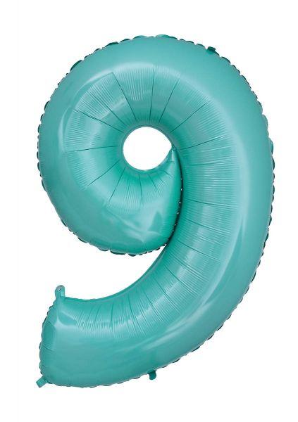 Folienballon Zahl 9 Pastell Türkis 100cm
