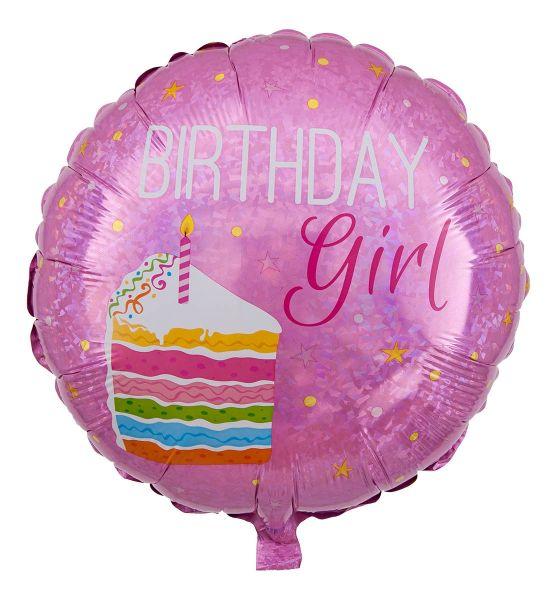 Folienballon Geburtstagstorte Birthday Girl Holographic 45cm