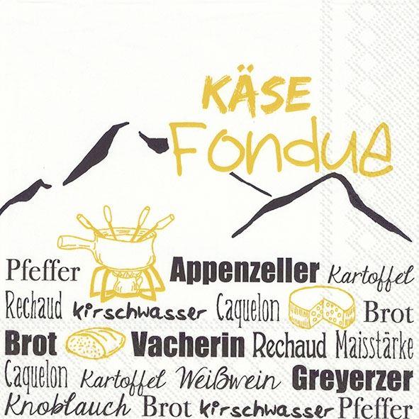 Käse Fondue Gelb - 20 Servietten