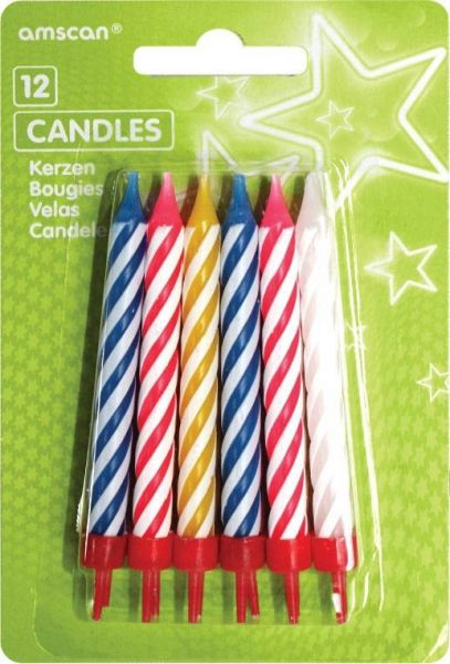 12 Multicolor Spiral-Kerzen mit Haltern