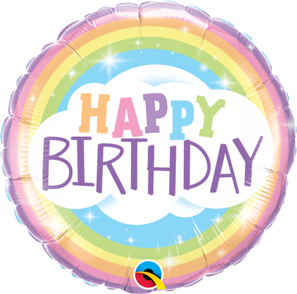 Folienballon Regenbogen-Geburtstag 45cm