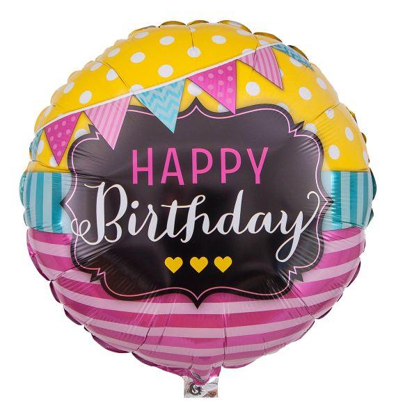 Folienballon Happy Birthday Girlanden & Pinke Streifen 45cm