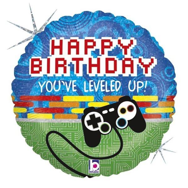 "Folienballon Happy Birthday ""Level up"" 46cm"