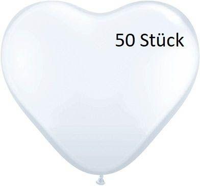 Latexballon Herz White 50 Stück Ø 35cm