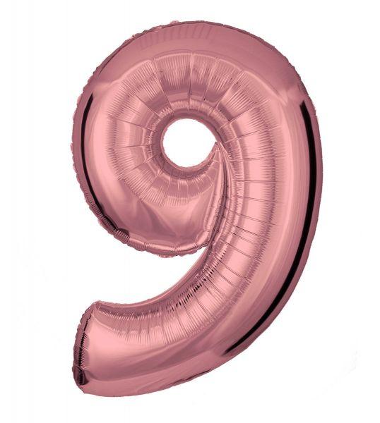 Folienballon Zahl 9 Roségold 100 cm