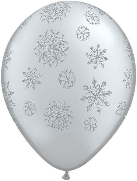 Qualatex Latexballon Glitzer Schneeflocken Silber Ø 30cm