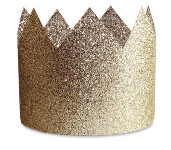 8 Gold-Glitzer Party-Hüte