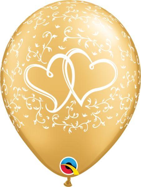 Qualatex Latexballon Verschlungene Herzen Gold Ø 30cm