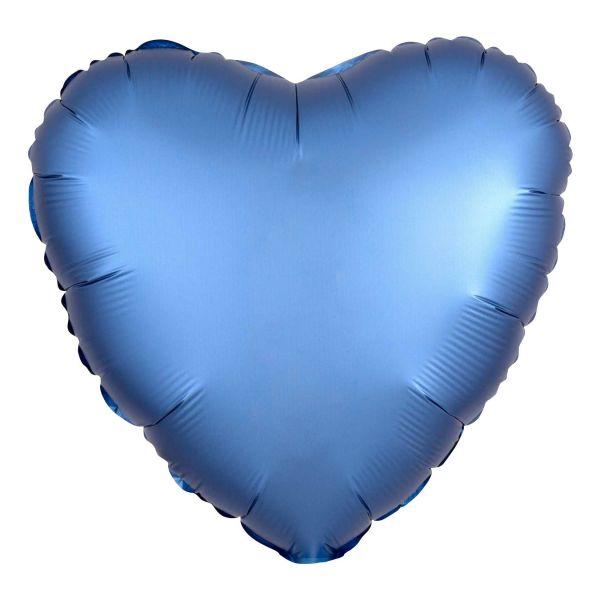 Folienballon Herz Satin Azur Blau 45cm