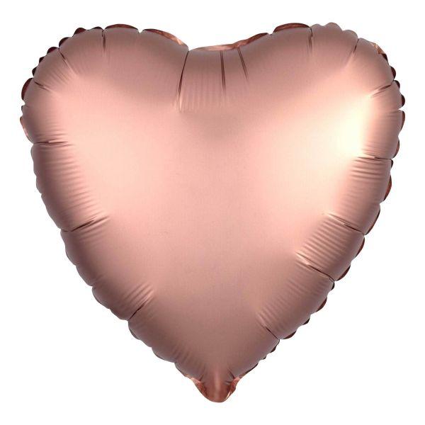 Folienballon Herz Satin Kupfer Rosé 45cm