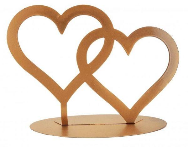 Metall Aufsteller Zwei Herzen Gold