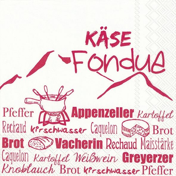 Käse Fondue Rot - 20 Servietten
