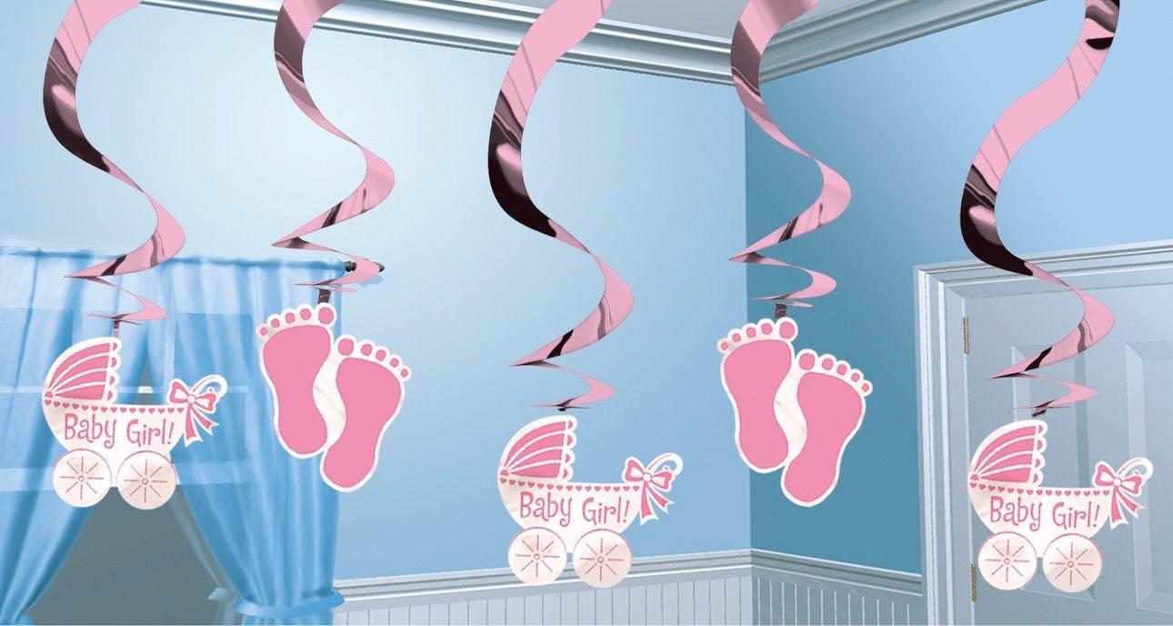 baby girl 5 deko spiralen es wird ein m dchen baby shower baby party happy balloon. Black Bedroom Furniture Sets. Home Design Ideas