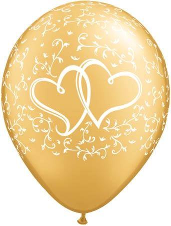 Qualatex Ballon Verschlungene Herzen Gold 30cm