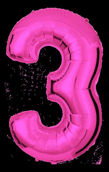 Folienballon Zahl 3 Pink 100cm