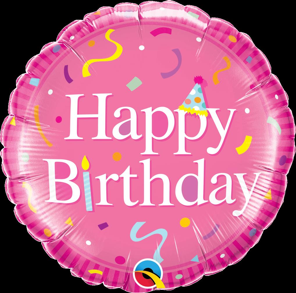 Folienballon Geburtstags Hutchen Rosa 45cm Runde Ballons