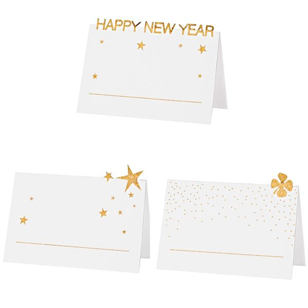 Happy New Year - 6 Platzkarten Weiß & Gold
